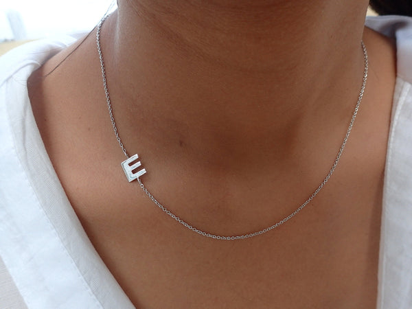 14k Gold Initial Necklace Asymmetric, Personalized Initial Letter Necklace, Sideways Initial Necklace