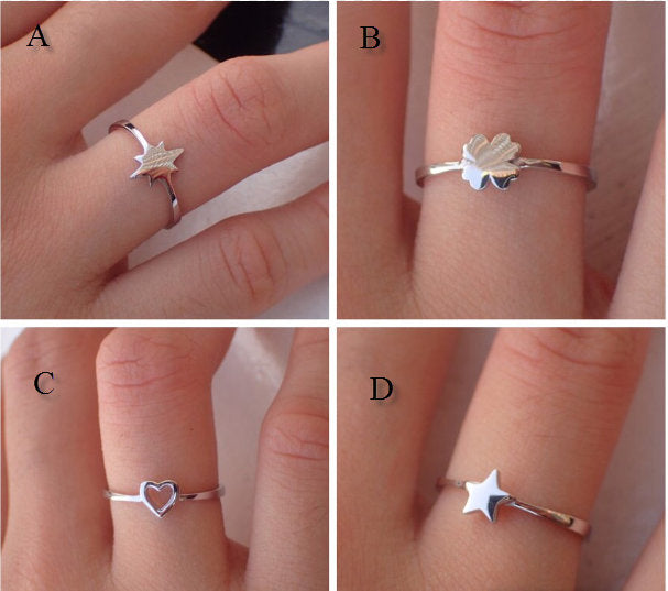 On Sale- Simple Durable 14k Gold Ring -Star Burst Ring - Good Luck Clover Ring - Open Your Heart Ring - Perfect Gift for Girls