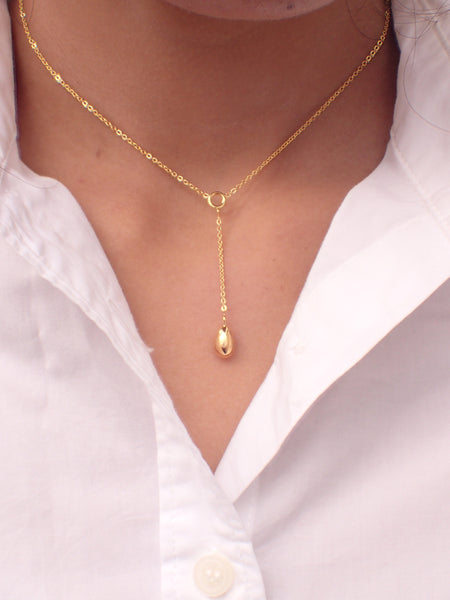 Ready to Ship-  Golden Swan Egg 14k Necklace with 10k Solid Egg, Y Style Necklace Chain