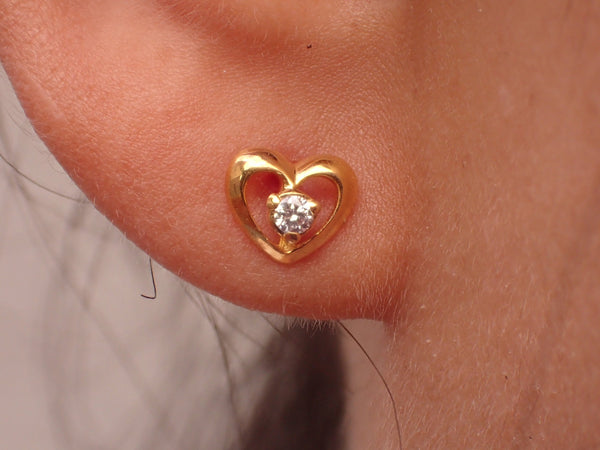 Heart Shape Earrings, Diamond Post Earring, Prong Set Earrings, Heart Shaped Posts, 14k Unique Earring