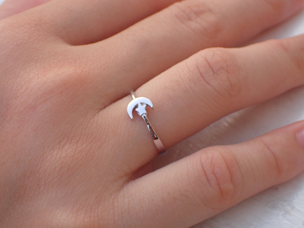 Moon and Star Ring / Sterling Silver Moon Ring / Adjustable Ring / 10k, 14k White Gold or Silver Moon and Star Ring / Promise Ring