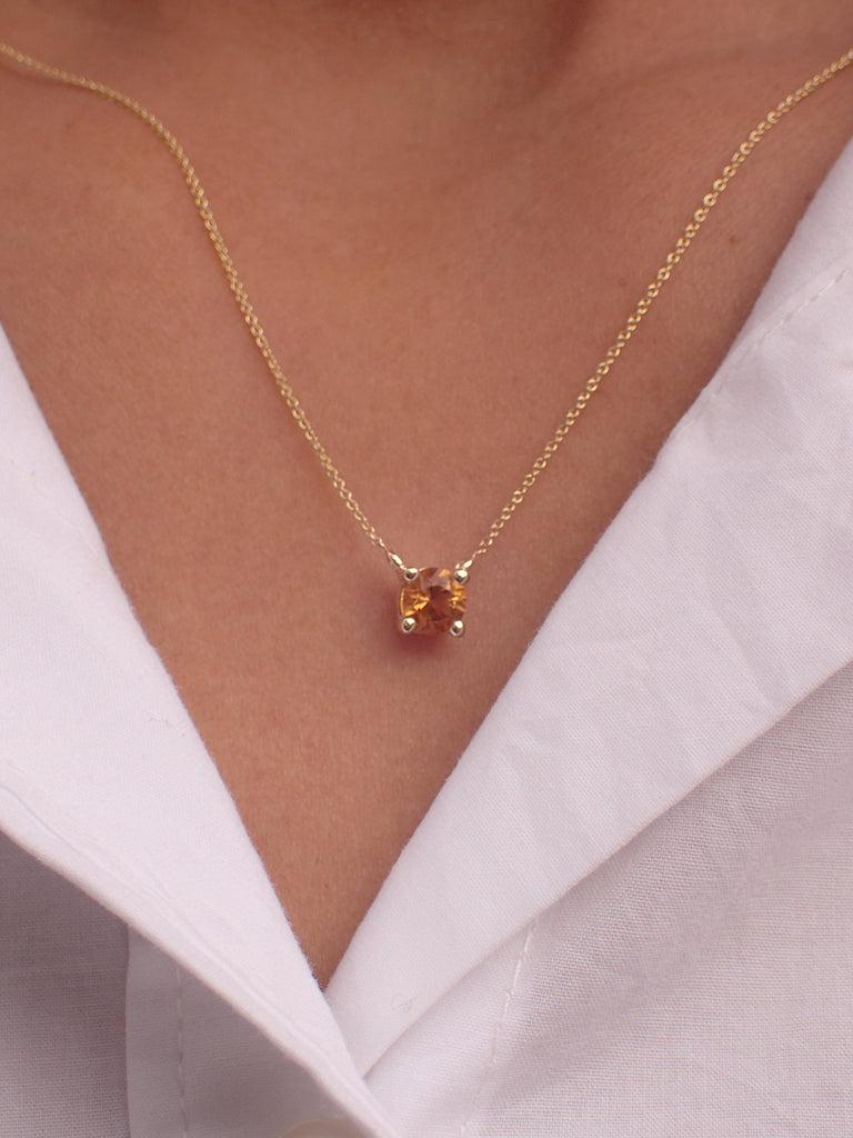0.14ct Citrine Solitaire 14k Solid Gold Necklace Pendant - November Birthstone Necklace Gift