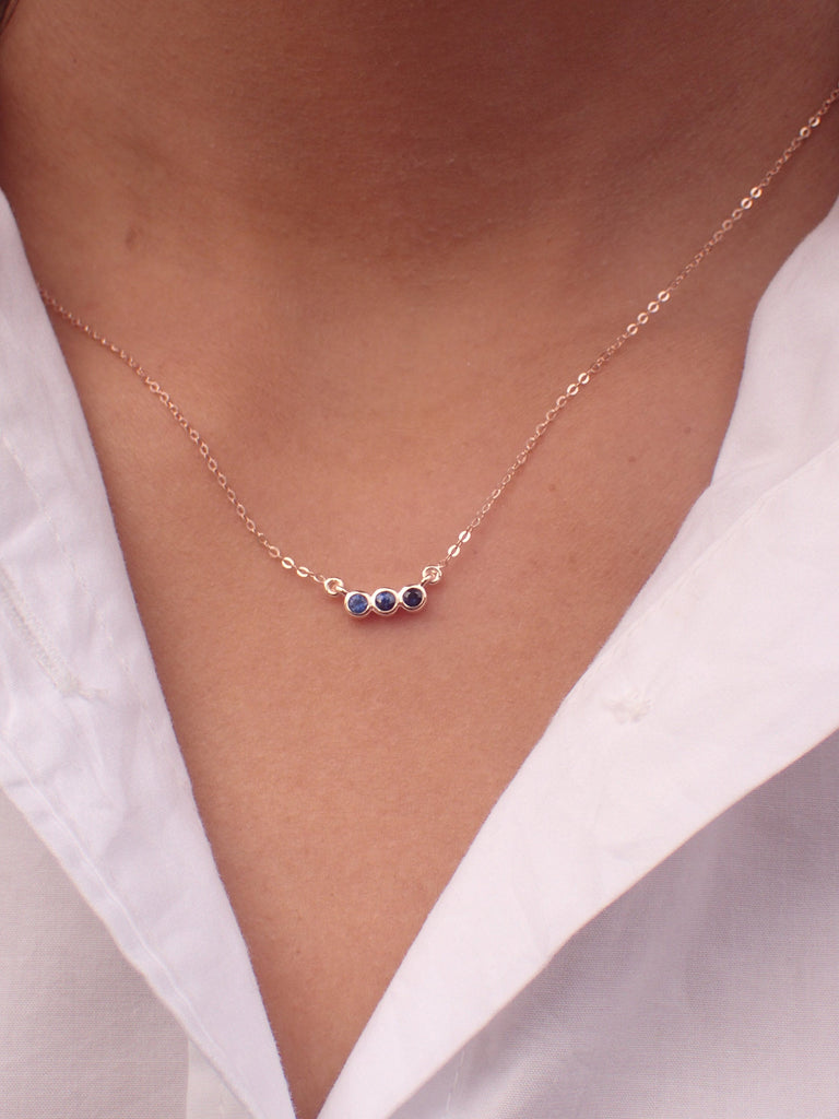 Three Sapphire Stone Necklace Pendant 14k Solid Gold - September Birthstone Gift