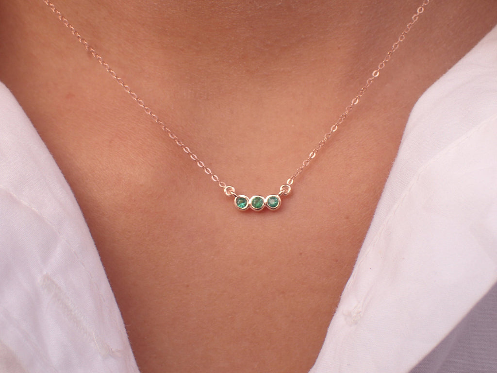 Three Stone Emerald Necklace 14k Chain - May Birthstone Month Gift