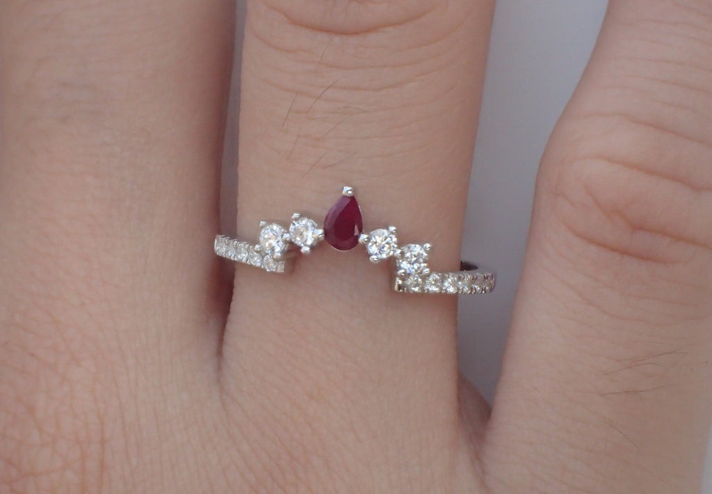 Ruby Curved Wedding Band with White Sapphire for Matching with Center Stone Engagement Ring Wrap