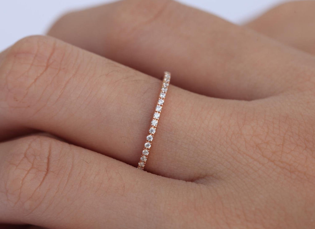 14k Gold Half Eternity 1.3mm Wedding Band Yellow Gold Thin Dainty Slim Band Low Profile Diamond Ring White Gold Band Rose Avail