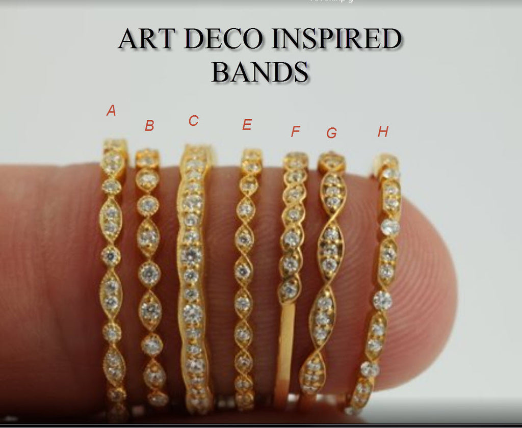 14k Art Deco Inspired Bands All Shapes White Sapphire - On Sale - Half Eternity Bands