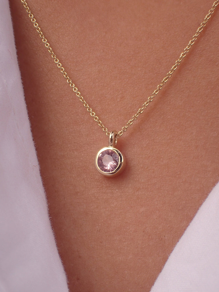 0.14ct Pink Sapphire Solitaire 14k Solid Gold Necklace Pendant - September Birthstone Necklace Gift