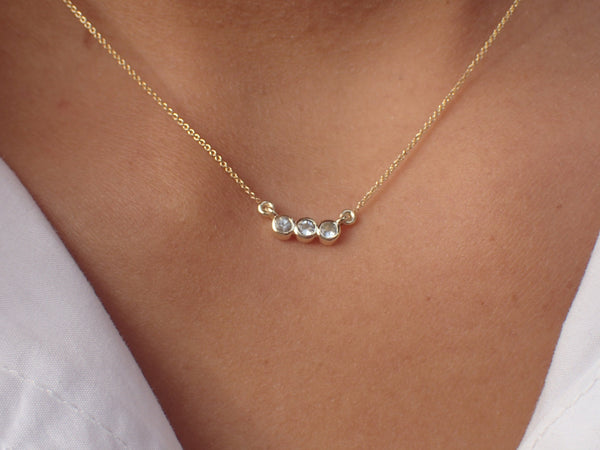 Trio Diamond Necklace, Bezel Set Necklace, 14k Gold Dainty Diamond Necklace, Graduation Gift, 3 Stones Pendant