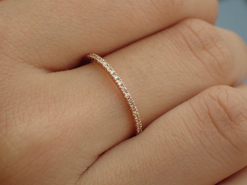 Full Eternity Micro Pave Band, 14K Rose Gold Thin Dainty Band, Pave Diamond Band, Ready to Ship - Fast Shipping