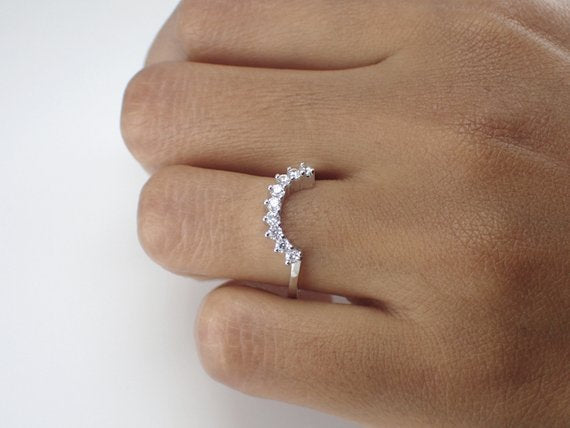 2mm Curved Ring, Curved Ring Enhancer, Diamond Matching Wedding Band, Diamond Crown Ring, Curved Chevron Ring