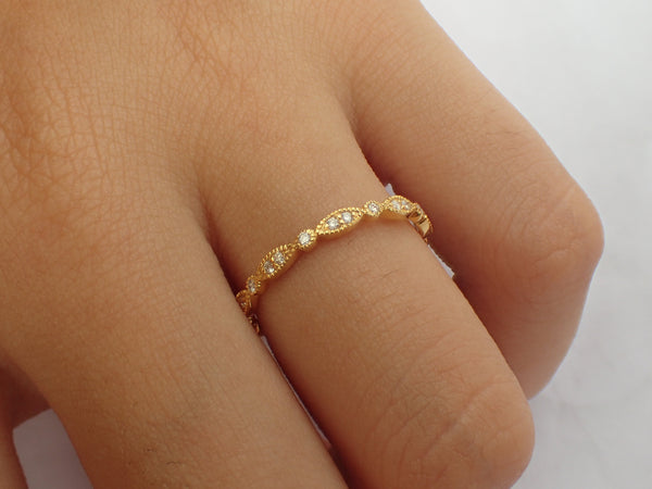 Vintage Wedding Band, Full Eternity Stackable Diamond Ring, Art Deco Band with Milgrain, Ready to Ship - Fast Shipping