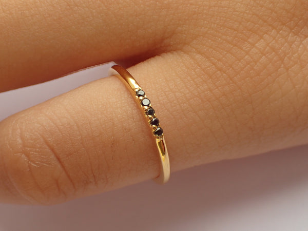5 Stones Black Diamond Band, Dainty Stackable Ring, Five Stones Ring, Dainty Thin Band, Ready to Ship - Fast Shipping