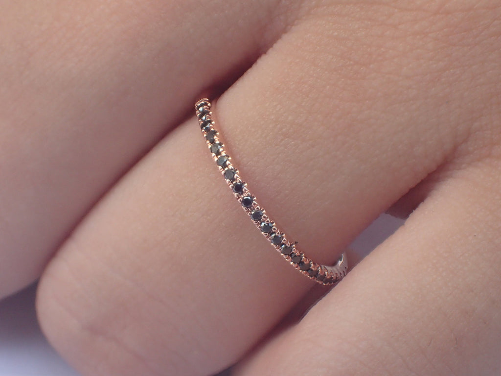 Micro Pave Eternity Black Diamond Band, 14k Rose Gold Half Eternity Band, Delicate Dainty Band, Ready to Ship - Fast Shipping