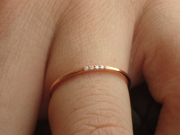 Four Diamonds Ring, Thin Dainty Band, 14k Rose Gold 4 Stones Ring, Dainty Stackable Diamond Ring, Ready to Ship - Fast Shipping