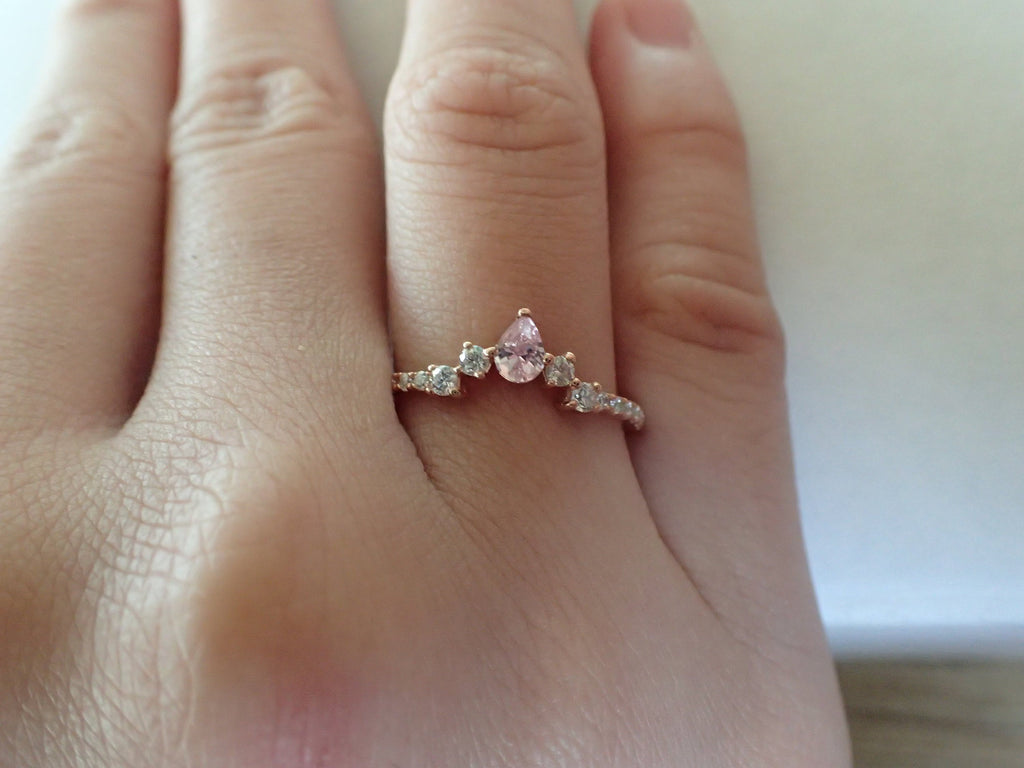 Curved Ring Enhancer, Engagement Ring Enhancer, Curved Chevron Platinum Wedding Band, Diamond Pink Sapphire Curved Ring