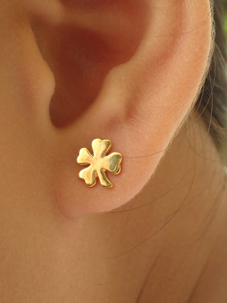 Four Leaf Clover Earrings, Clover Stud Earrings, 14k Solid Gold Dainty Earrings, Tiny Clover Earrings, Good Luck Earrings
