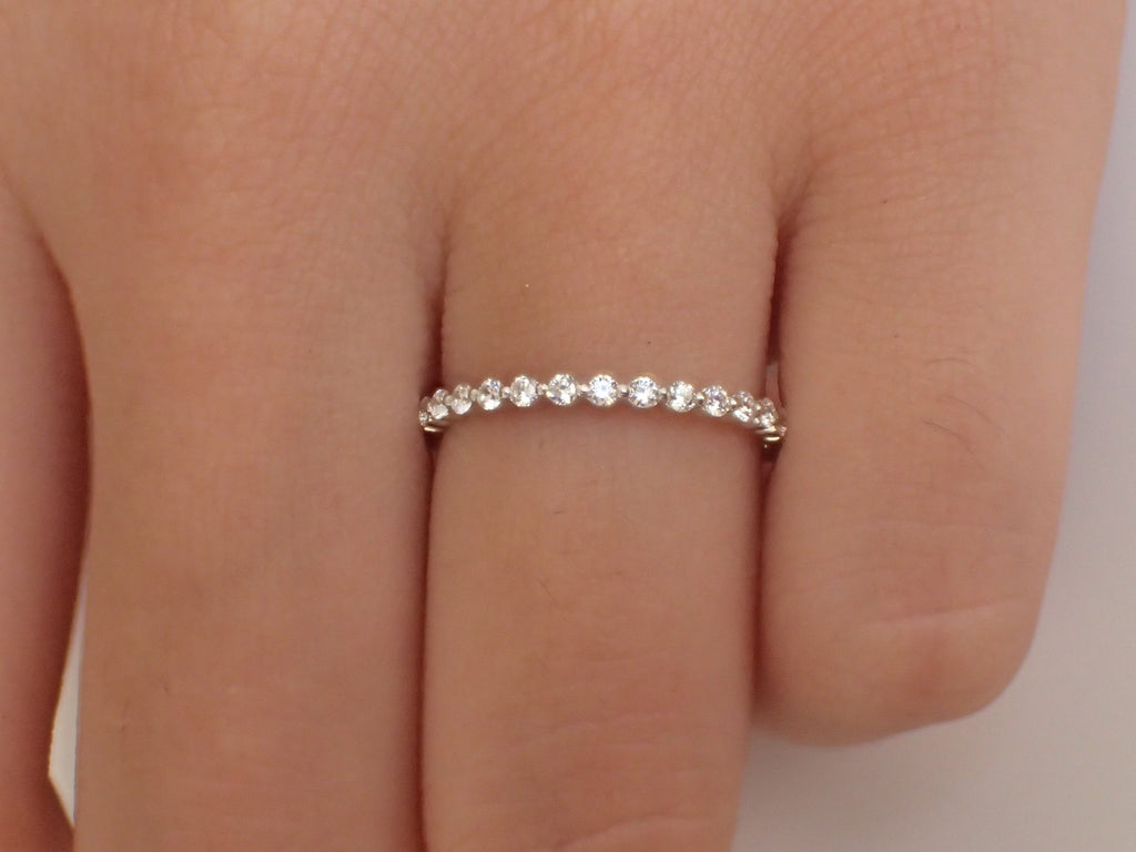 1.5mm Single Prong Diamond Wedding Band/ Half Etenity Band/ Dainty Stacking Band/ Solid Gold High Quality Diamonds