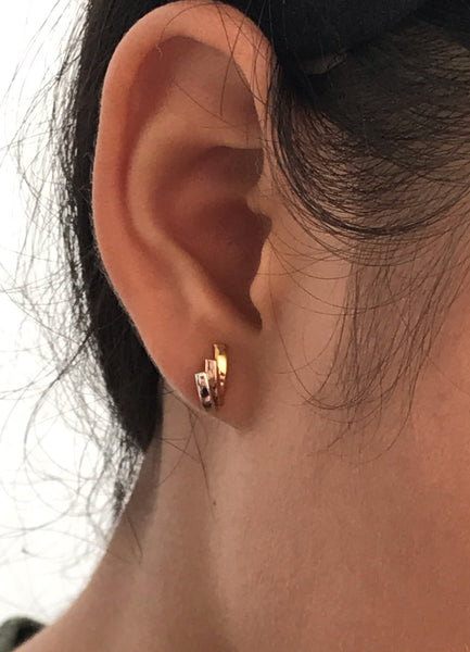 Three Color Earrings in 14K Solid Gold, Stud Post Earrings, Tri Color Earrings, Delicate Tiny Stud Earrings