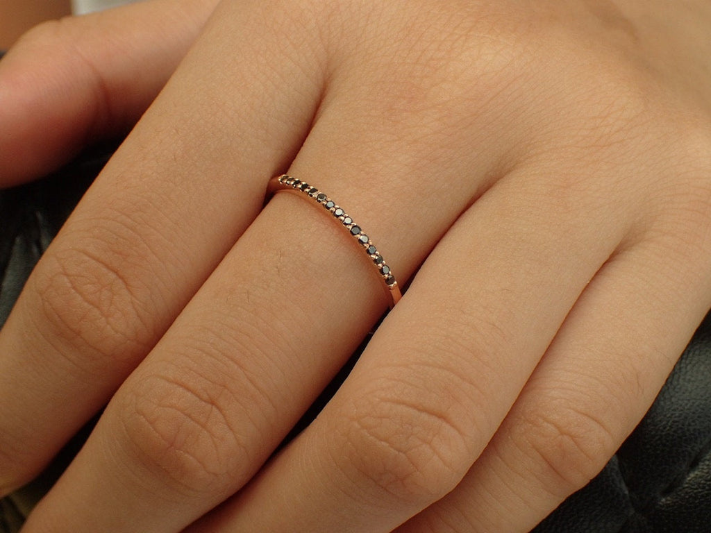 Black Diamond Stackable Ring, 14k Rose Gold Thin Dainty Band, Dainty Black Diamond, Ready to Ship - Fast Shipping
