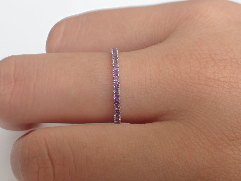 Platinum Amethyst Band, Micro Pave Eternity Thin Dainty Band, Delicate Amethyst Ring, February Birthstone Full Eternity Band