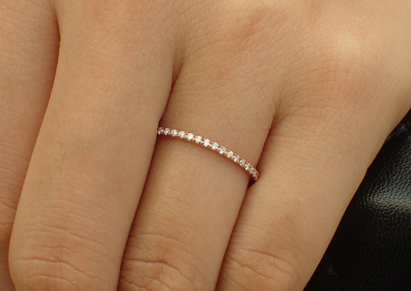 Micro Pave Eternity Thin Dainty Band, Half Eternity Pave Diamond Band, 14K Rose Gold, Ready to Ship - Fast Shipping
