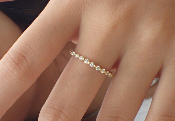 Single Prong Ring, 3/4 Eternity Prong Set Band, 14K Yellow Gold Floating Bubble Prong Diamond Band, Ready to Ship - Fast Shipping