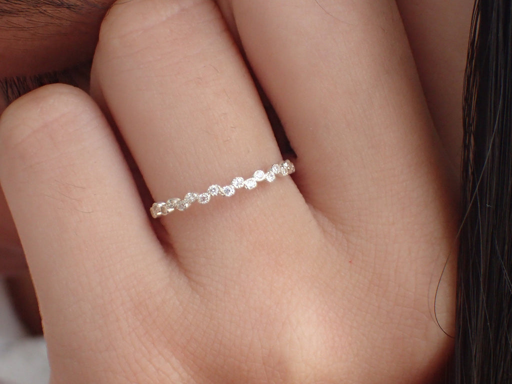 Bezel Set Diamond Wedding Band, 14k Solid Gold Half Eternity Ring, Milgrain Bubble Band, Delicate Stacking Band
