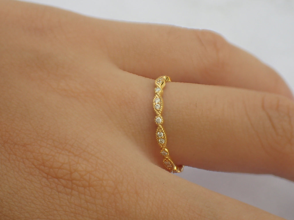 Art Deco Marquise Dot Diamond Band, Full Eternity Art Deco Unique Diamond Band, Solid Gold Bridal Art Deco Band