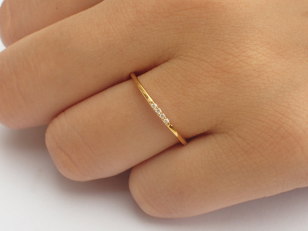 Delicate 4 Diamonds Stackable Ring, Thin Dainty Band, Four Stones Ring, Dainty Diamond Ring, Ready to Ship - Fast Shipping