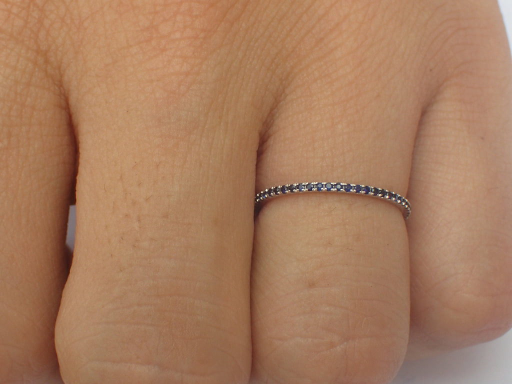 Micro Pave Eternity Blue Sapphire Band, Thin Dainty Band, Full Eternity Ring, 14K White Gold, Ready to Ship - Fast Shipping