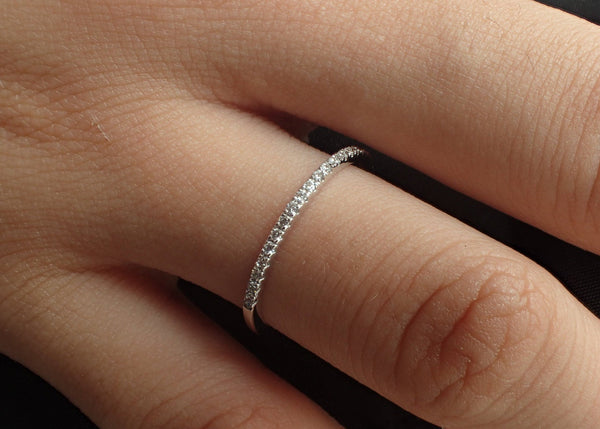Micro Pave Eternity Diamond Ring, Half Eternity Stacking Ring, 14k White Gold Thin Dainty Band, Ready to Ship - Fast Shipping