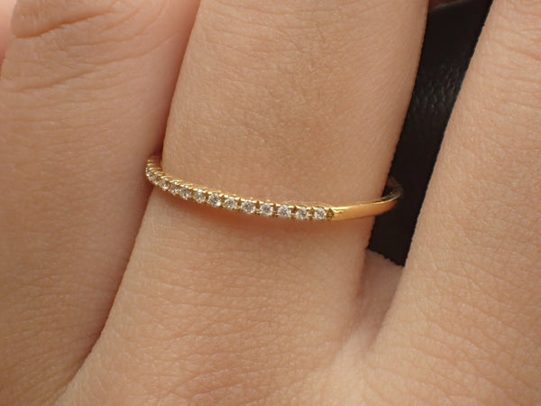 Micro Pave Diamond Wedding Band, 14k Yellow Gold Half Eternity Ring, Stackable Diamond Ring, Dainty Thin Band, Ready to Ship