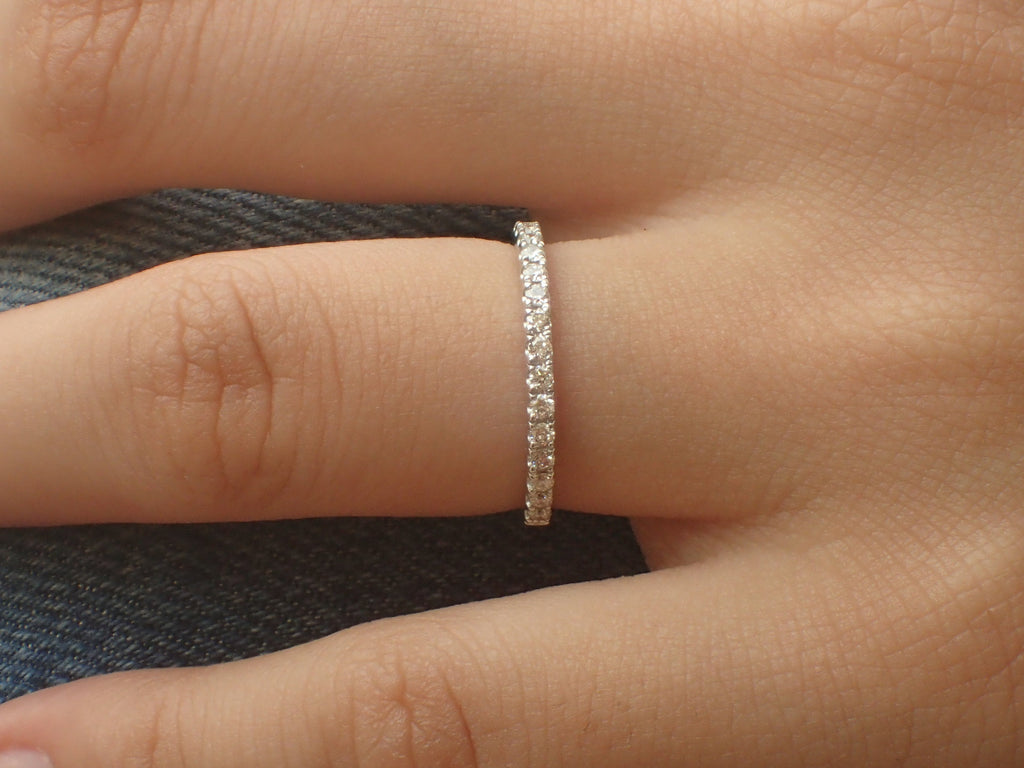 1.5mm Micro Pave Eternity Band, Diamond Wedding Band, 14k White Gold Half Eternity Ring, Delicate Pave Ring, Ready to Ship