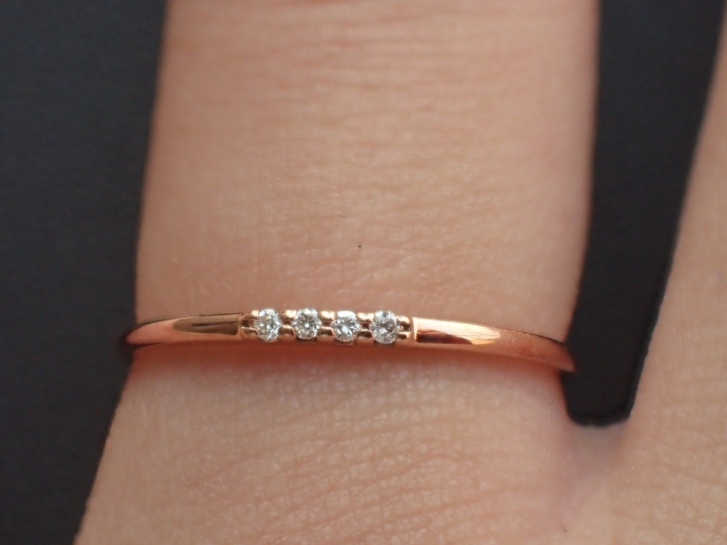 4 Diamonds Stackable Ring, Delicate Four Stones Dainty Thin Band, 14k Rose Gold Diamond Ring, Ready to Ship - Fast Shipping