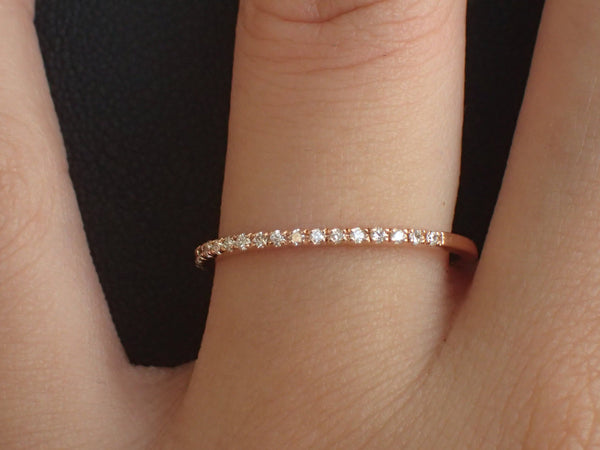 Micro Pave Diamond Wedding Band, 18k Rose Gold Half Eternity Ring, Stackable Diamond Ring, Thin Dainty Band, Ready to Ship