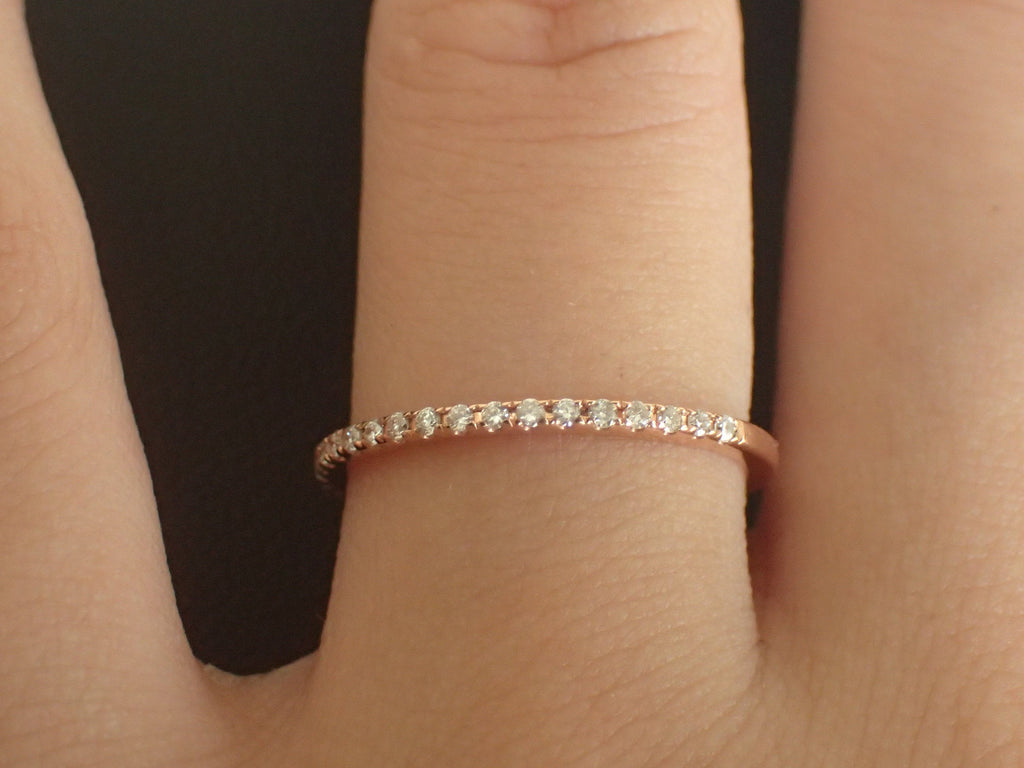 14k Rose Gold Micro Pave Band, Diamond Wedding Band, Half Eternity Ring, Stackable Thin Band, Ready to Ship - Fast Shipping