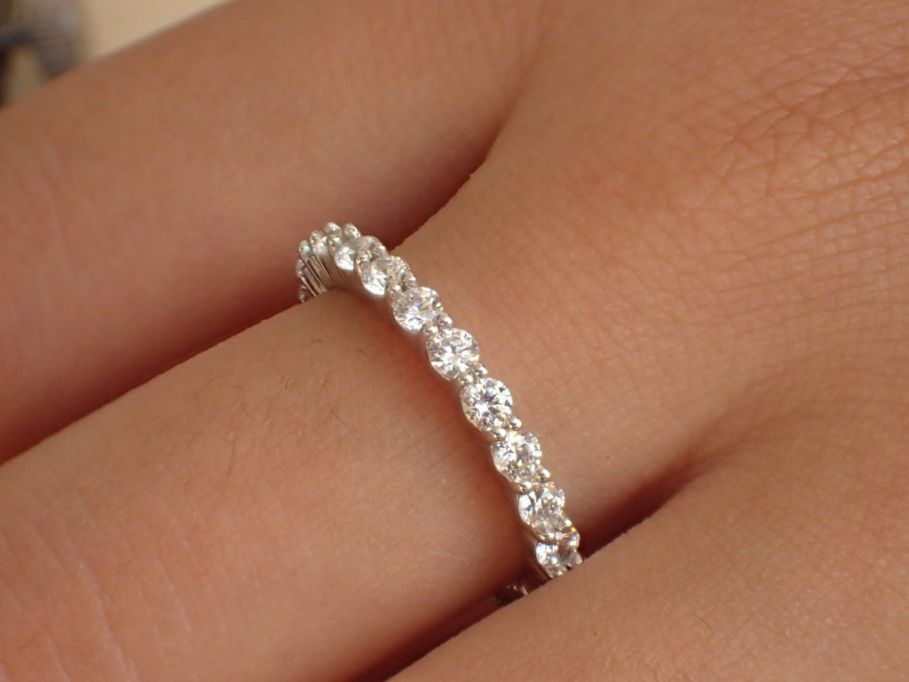 2.3mm Shared Prong Full Eternity Band, Diamond Wedding Band, 14K Solid Gold Common Prong Band, Delicate Bubble Band