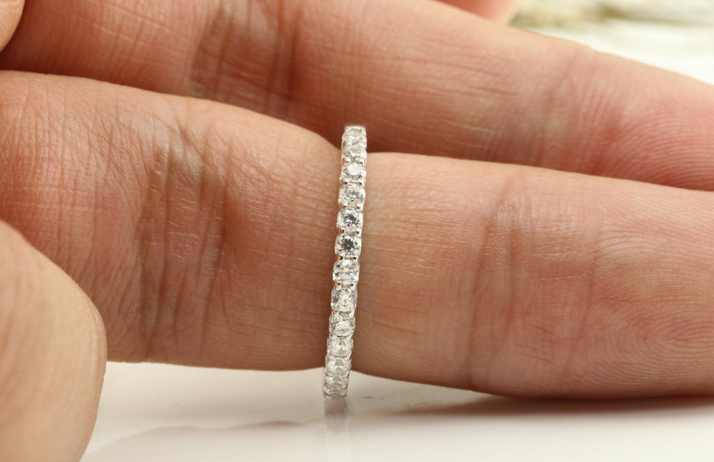 Angled Prong Setting Wedding Band, Half Eternity Band, 14k Solid Gold Diamond Band, Stackable Dainty Band