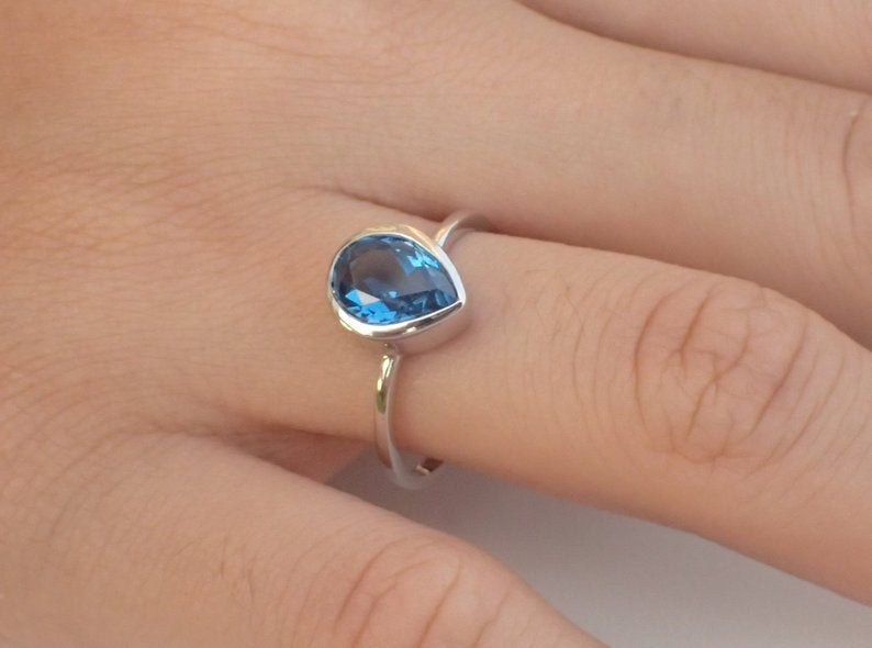 7x5mm London Blue Topaz Engagement Ring, 0.75ct Pear Cut Wedding Ring in 14k Solid Gold, Blue Topaz Anniversary Ring