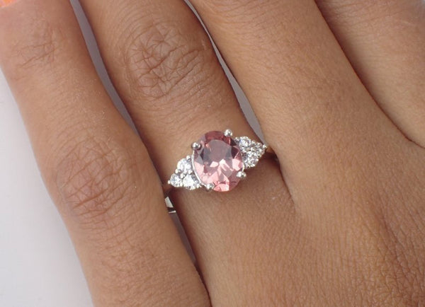 8x6mm Oval Cut Morganite Engagement Ring, VS E-F Diamond Cluster Wedding Ring in 14k Solid Gold, 1.5ct Peach Morganite