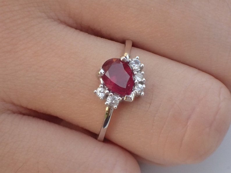 7x5mm Pear Cut Ruby Engagement Ring, VS E-F Diamond Cluster Wedding Ring in 14k Solid Gold, July Birthstone Ring 0.75ct