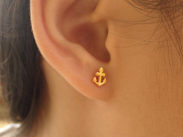 Anchor Stud Earrings, 14k Solid Gold Anchor Earrings, Tiny Stud Earrings, Nautical Earrings, Maritime Stud Earrings