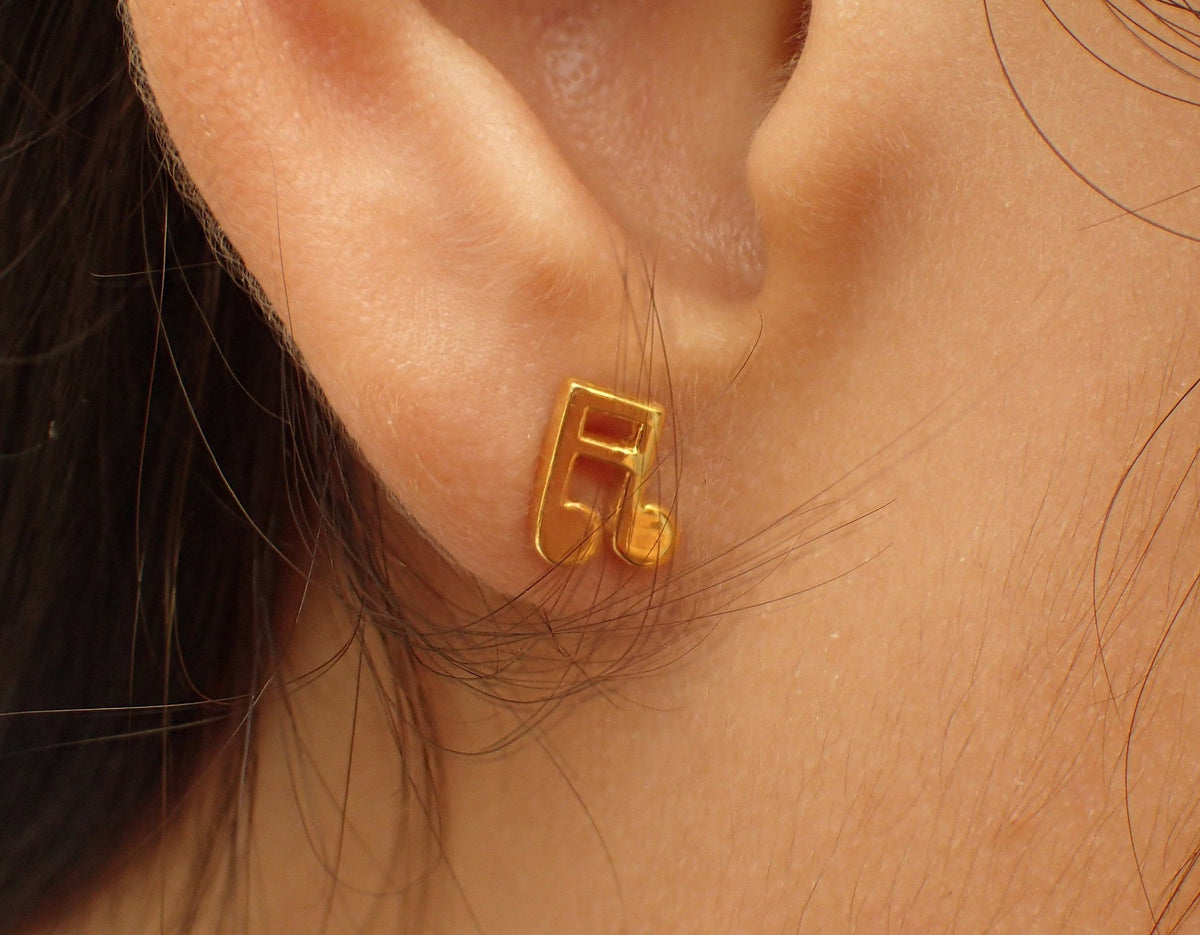 Graduation Gift Music Gift Symbolic Jewelry Eighth Note Earrings 8th Note Studs Musician Gift 14K Solid Gold Music Note Stud Earrings