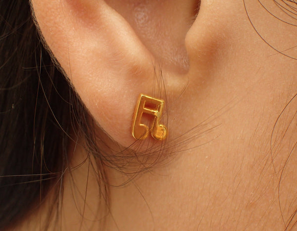 Music Note Earrings, Tiny Stud Earrings, 14k Solid Gold Tiny Music Note, Music Teacher Gift, Perfect for Music Lover