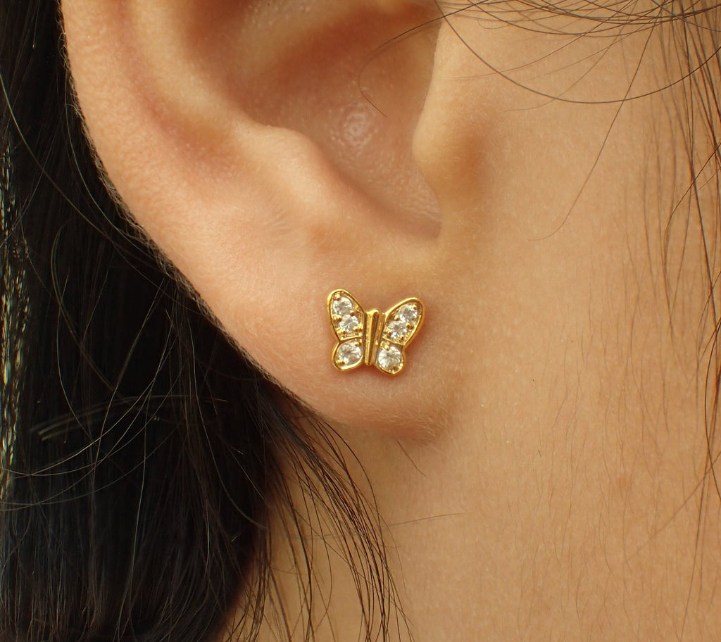 Butterfly Earrings, Gorgeous Pair of Butterfly, 14k Solid Gold with White Sapphires, Tiny Butterfly Earrings, Stud Post Earrings