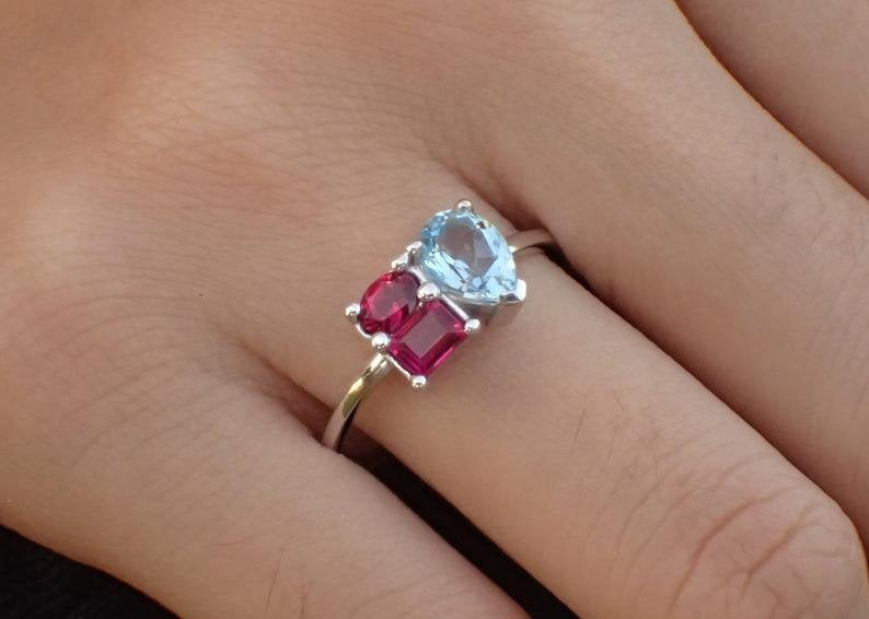 7x5mm Pear Cut Aquamarine Engagement Ring, 14k Solid Gold Ruby Cluster Anniversary Ring, Oval, Pear, Emerald Cut Wedding Ring