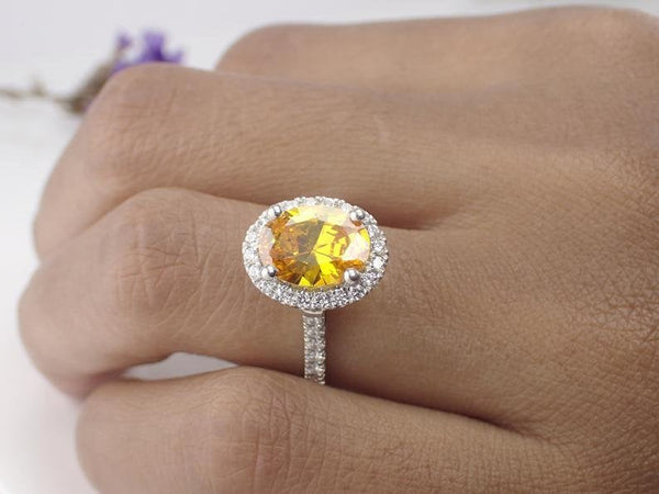9x7mm Natural Yellow Sapphire Engagement Ring, 14k Solid Gold Diamonds Halo Anniversary Ring, 2ct Oval Cut Wedding Ring