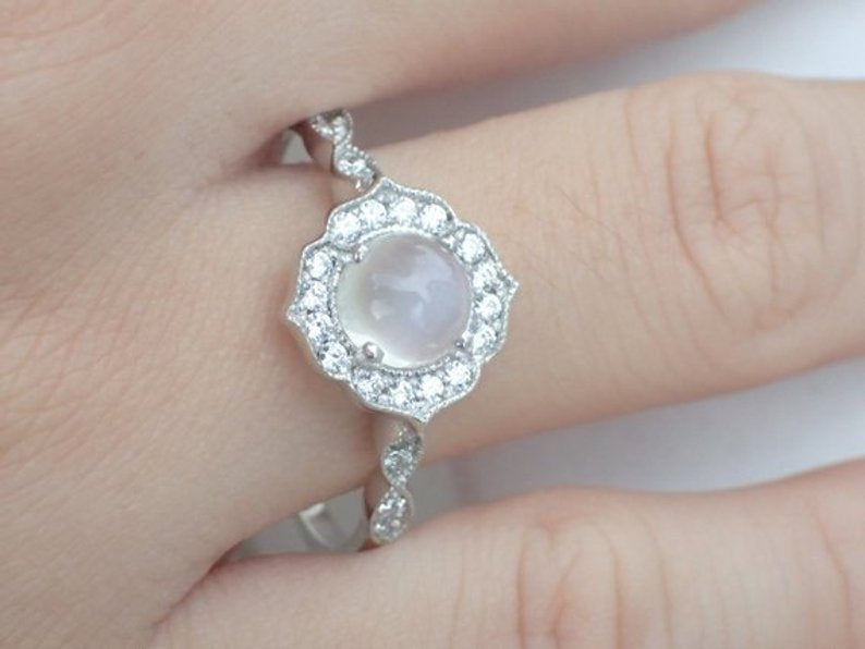 7mm Moonstone Engagement Ring, Diamond Cluster Wedding Ring in 14k Solid Gold, Art Deco Vintage Inspired Anniversary Ring