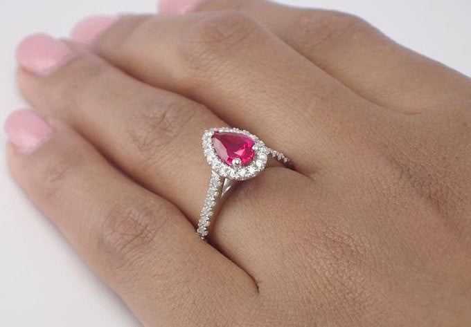 7x5mm Pear Cut Ruby Engagement Ring, Diamond Halo Cathedral Set Engagement Ring, 14k Solid Gold Anniversary Ring 0.75ct